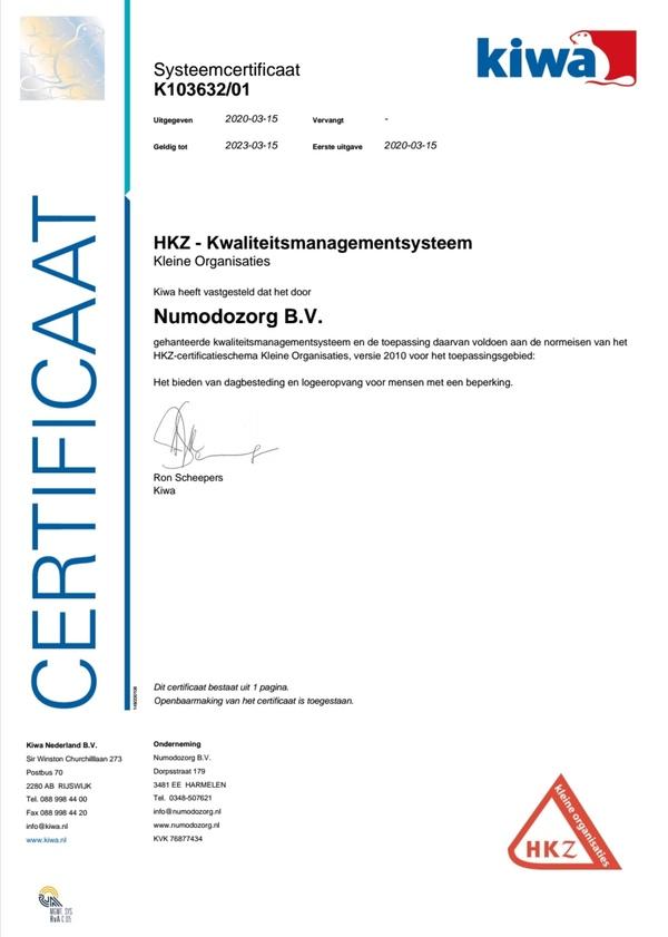 Certificaat HKZ KO